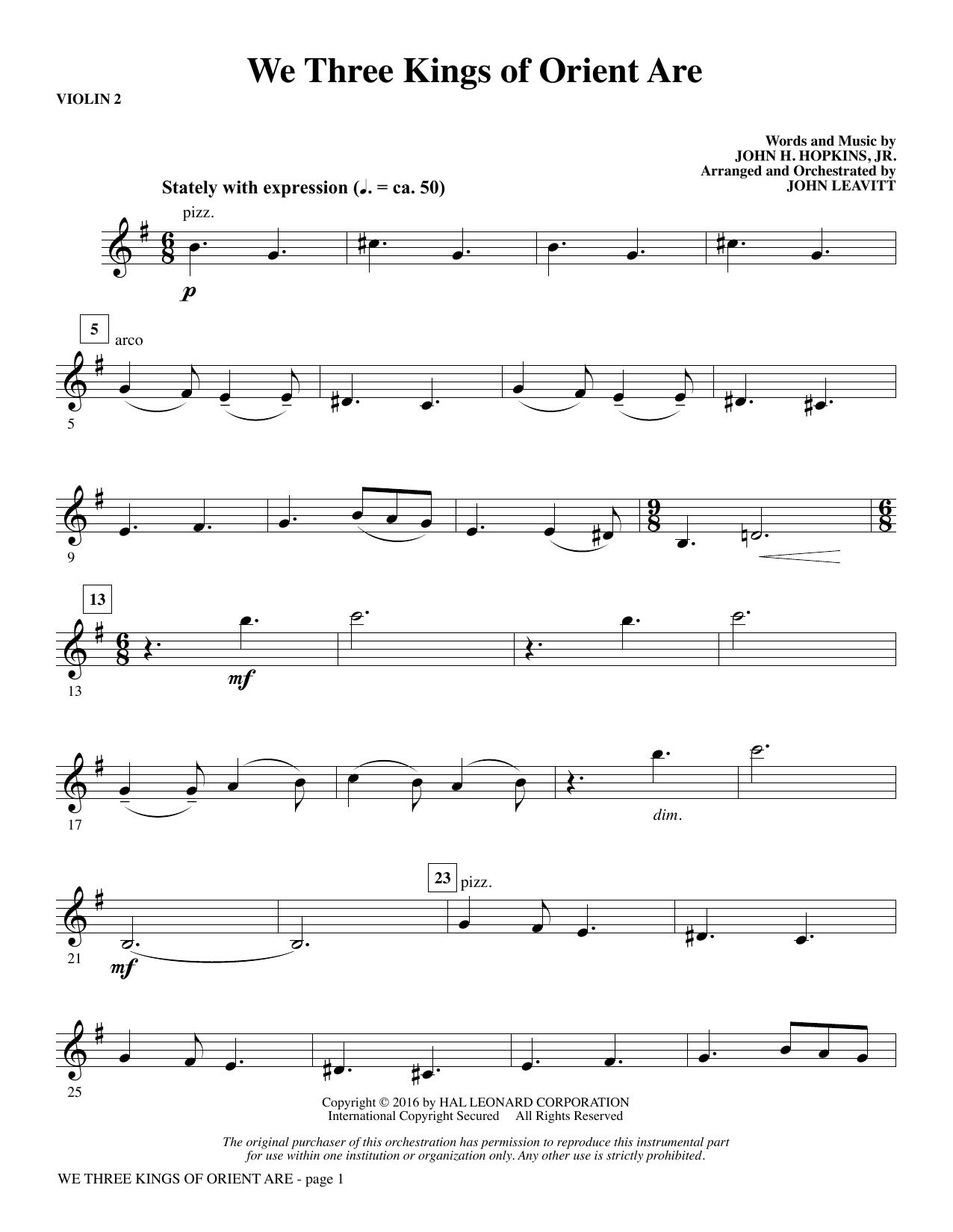 We Three Kings of Orient Are - Violin 2 (Choir Instrumental Pak)