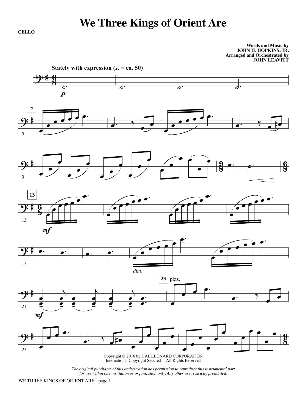 We Three Kings of Orient Are - Cello (Choir Instrumental Pak)