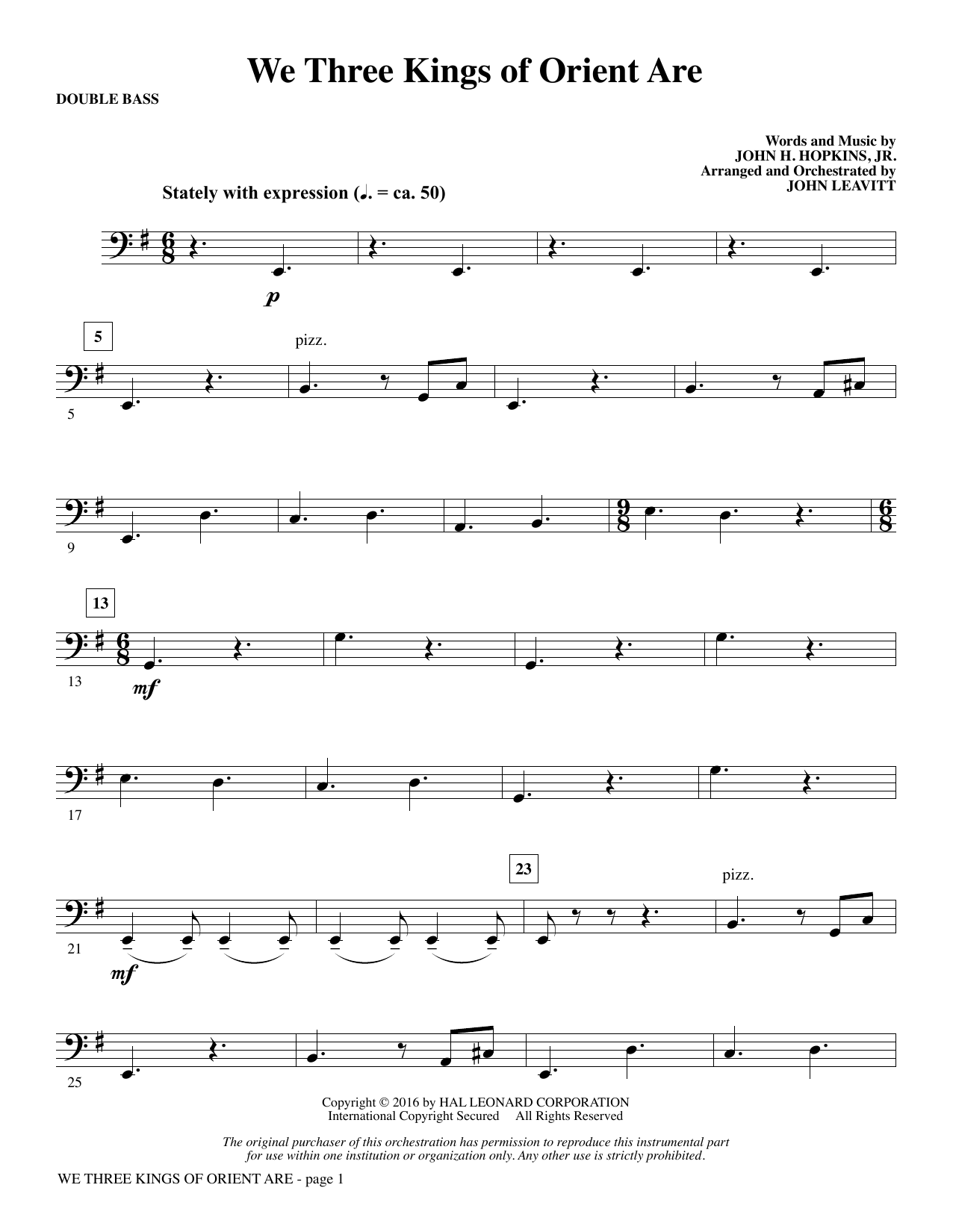 We Three Kings of Orient Are - Double Bass (Choir Instrumental Pak)