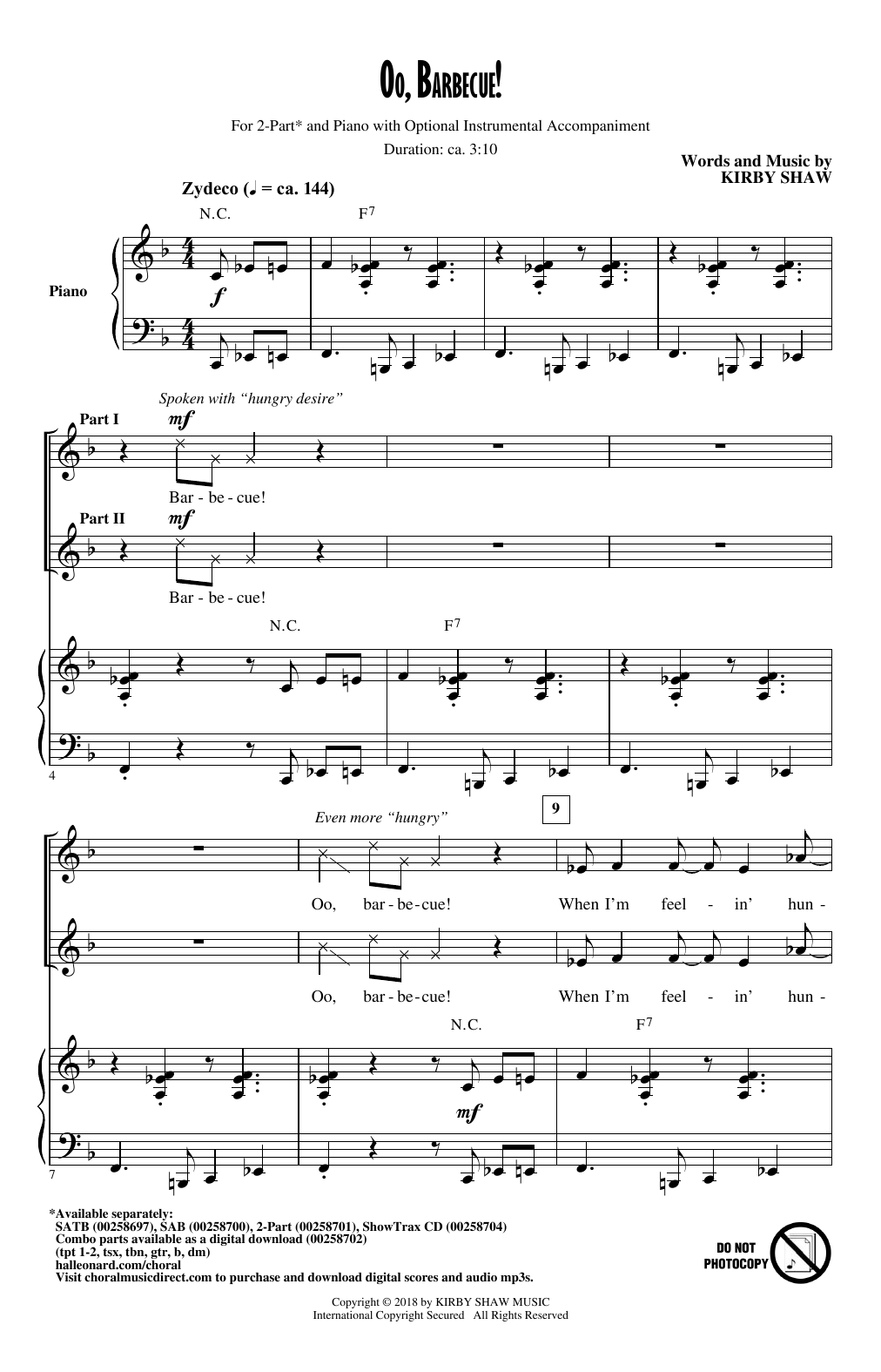 Oo, Barbecue! Sheet Music