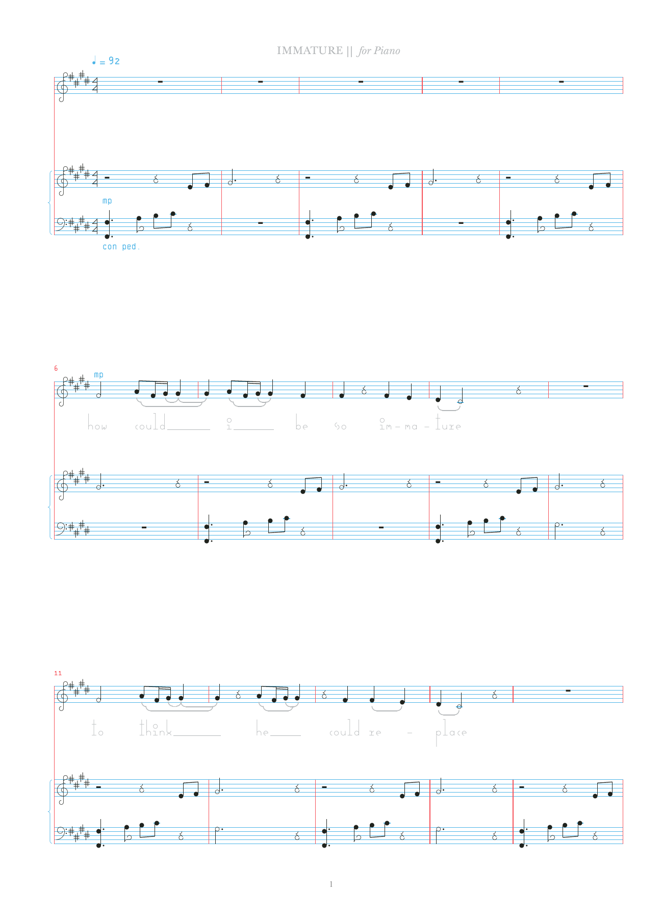 Immature Sheet Music