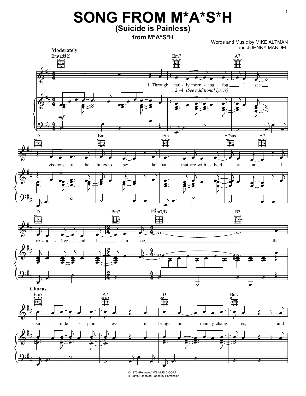 Song From M*A*S*H (Suicide Is Painless) (Piano, Vocal & Guitar (Right-Hand Melody))