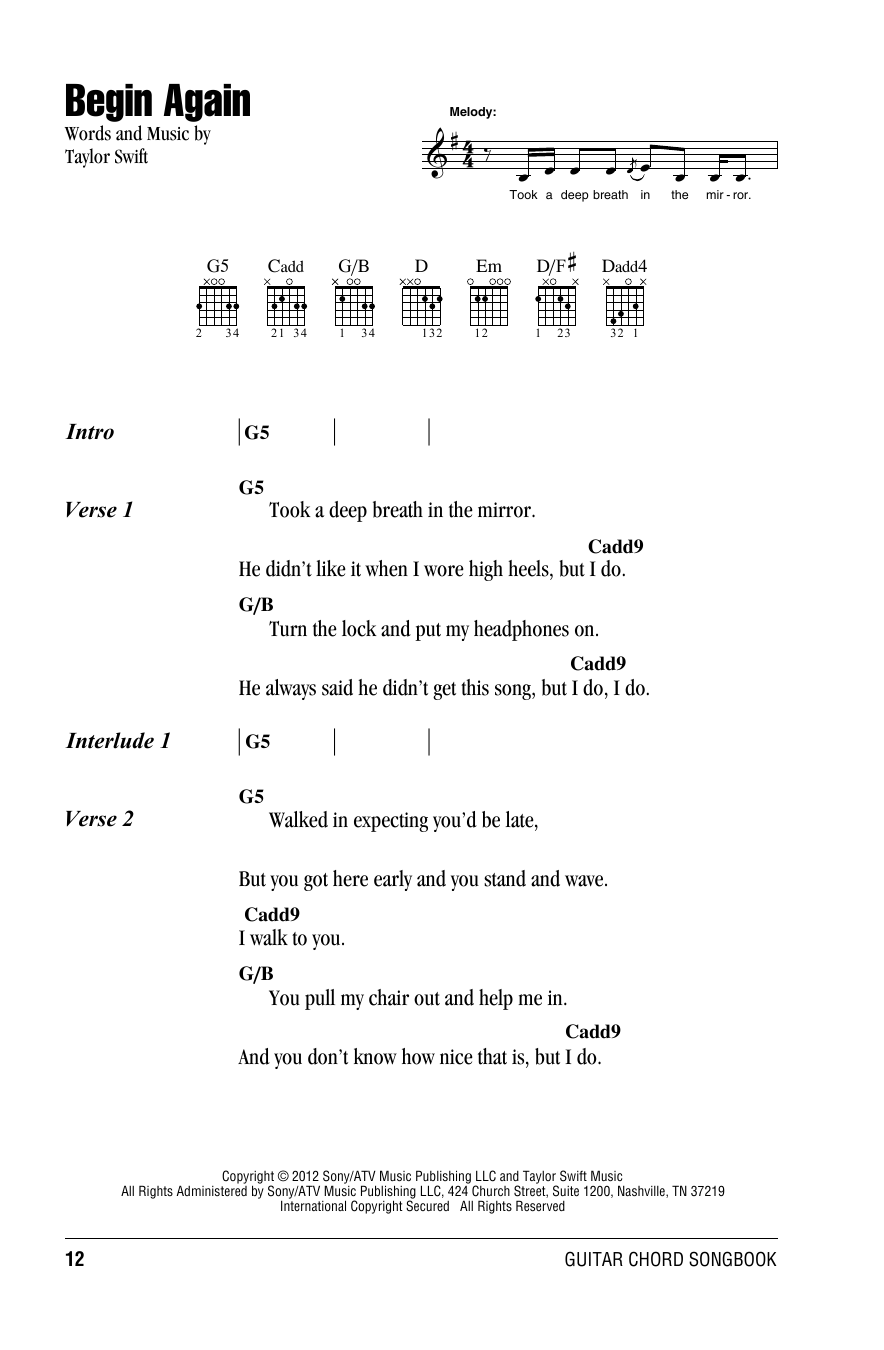 Begin Again By Taylor Swift Guitar Chordslyrics Guitar Instructor