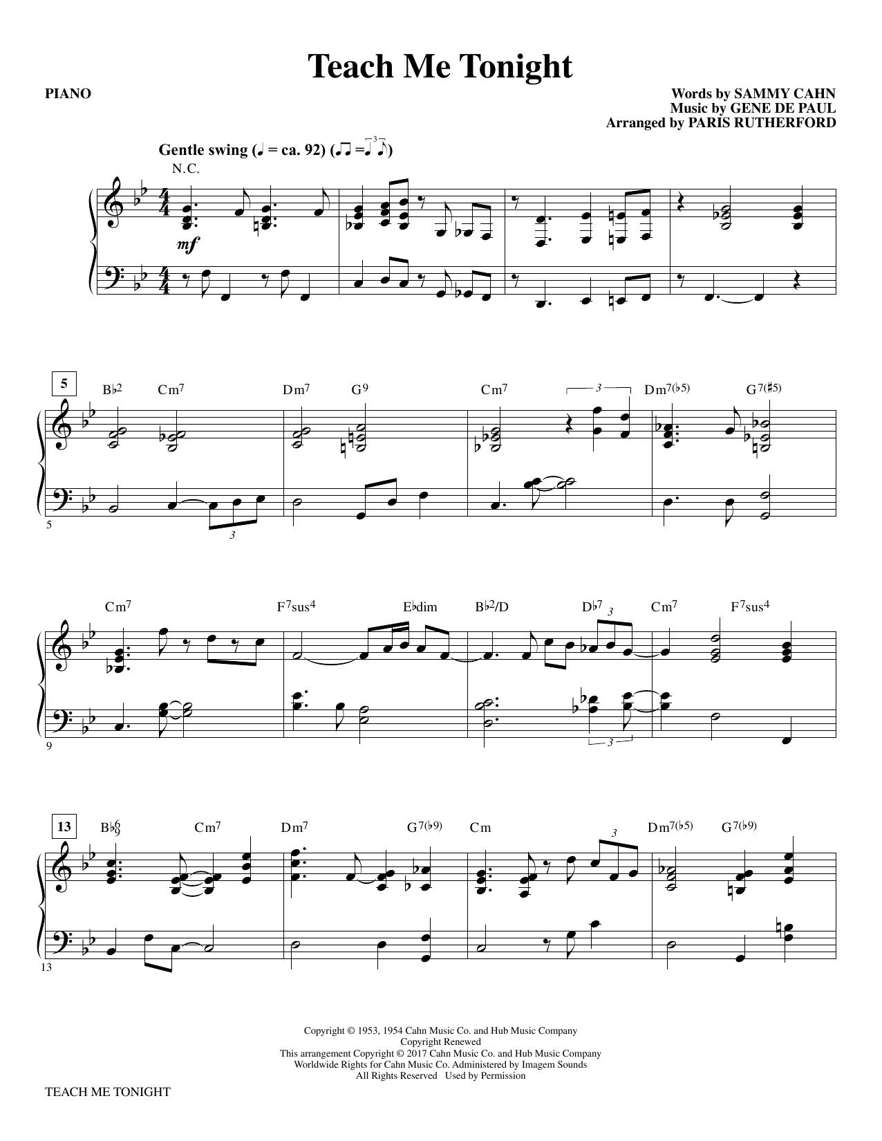 Teach Me Tonight - Piano (Choir Instrumental Pak)
