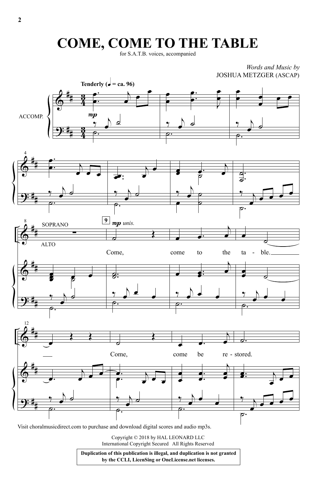 Come, Come To The Table (SATB Choir)