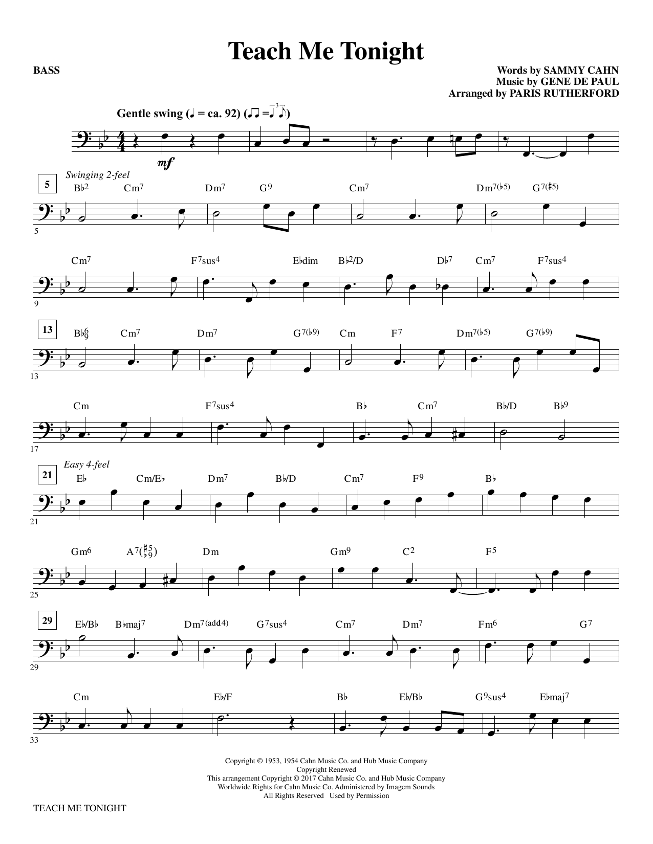 Teach Me Tonight - Bass (Choir Instrumental Pak)