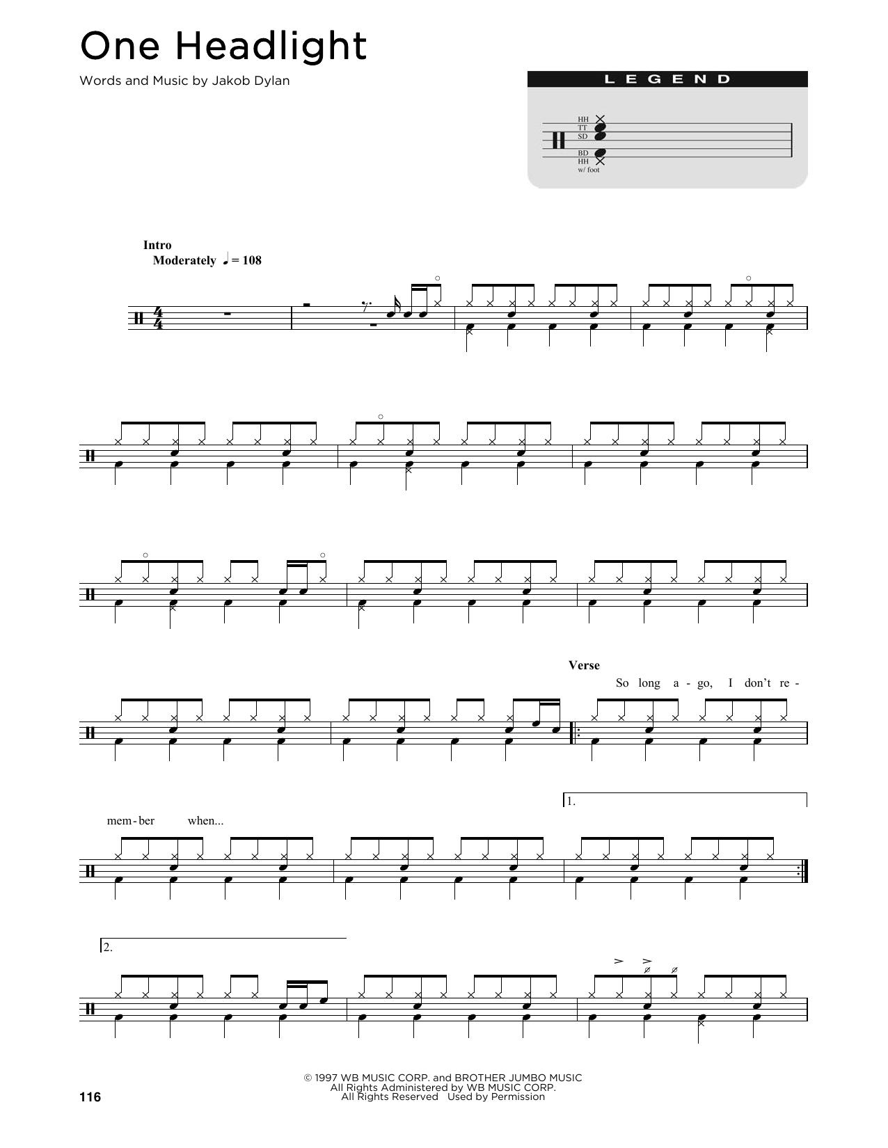 One Headlight (Drum Chart)