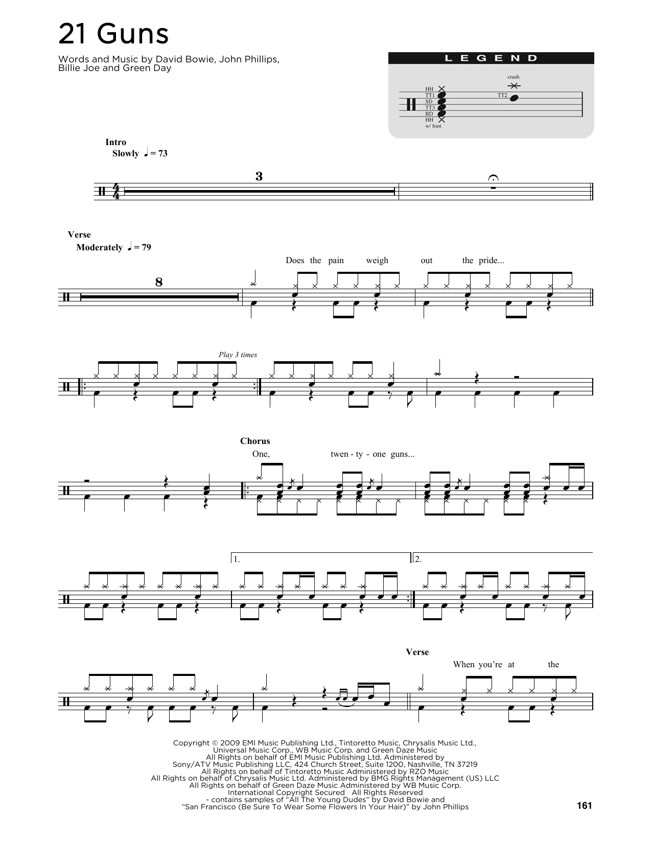 21 Guns (Drum Chart)