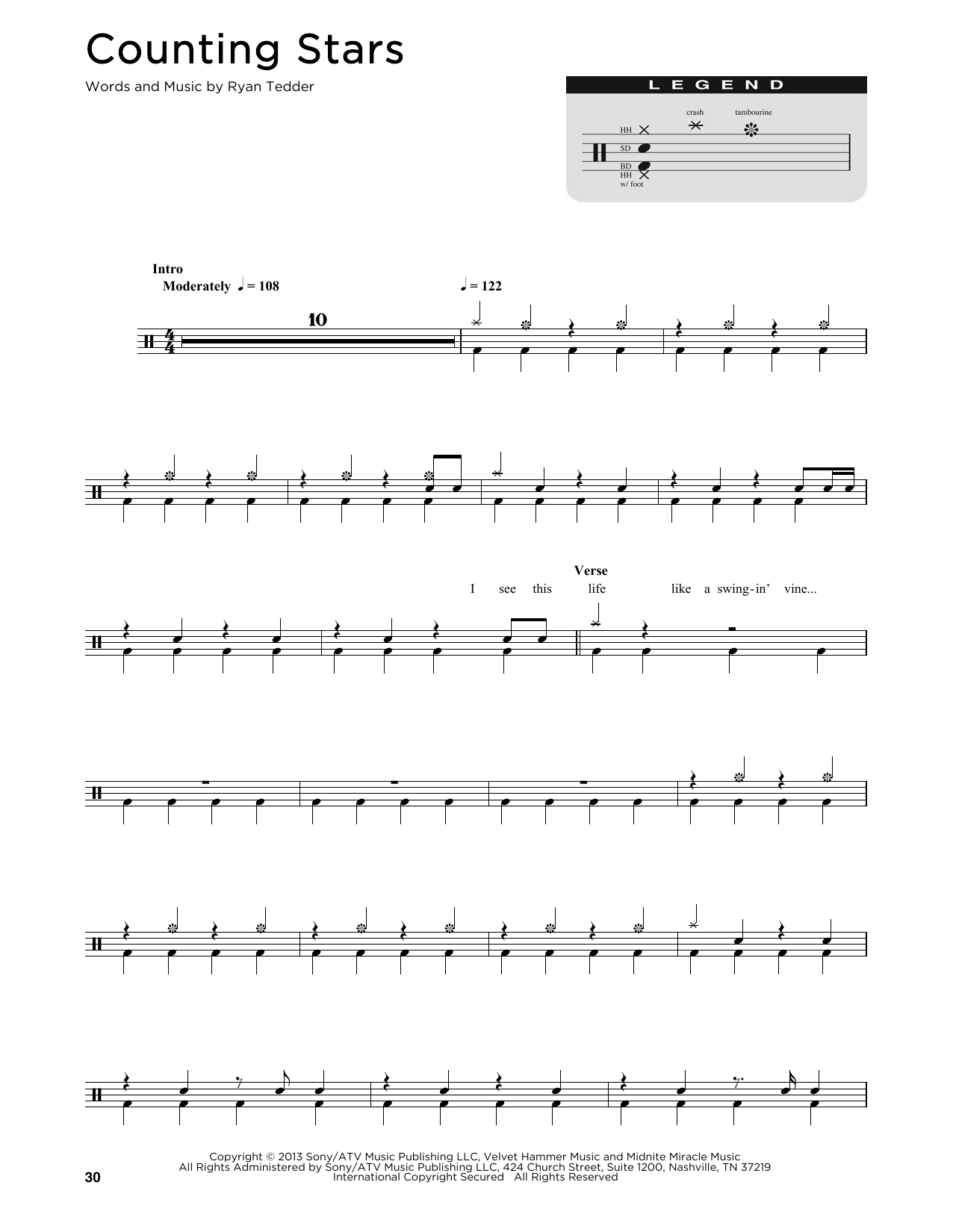 counting stars drum sheet