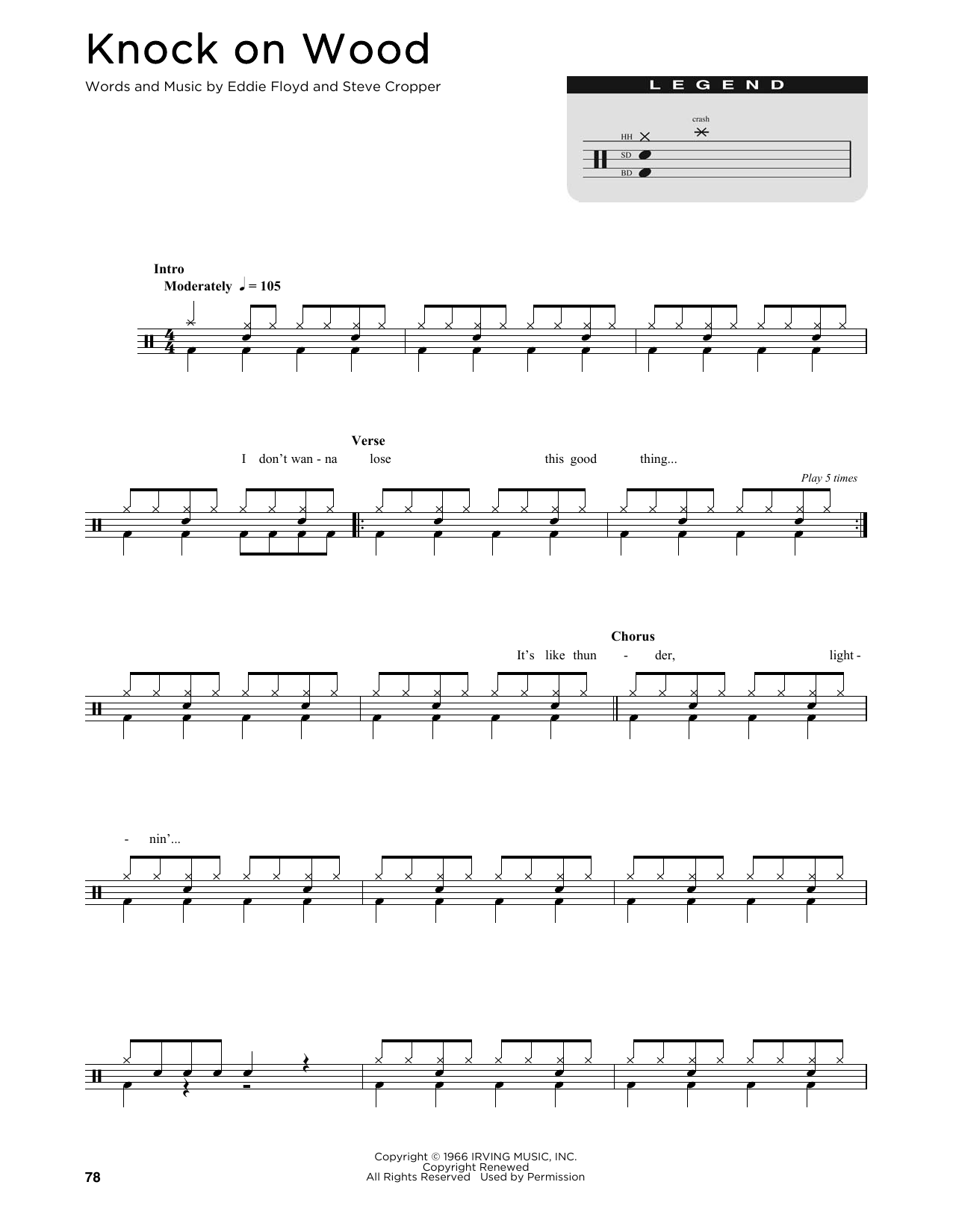 Knock On Wood (Drum Chart)