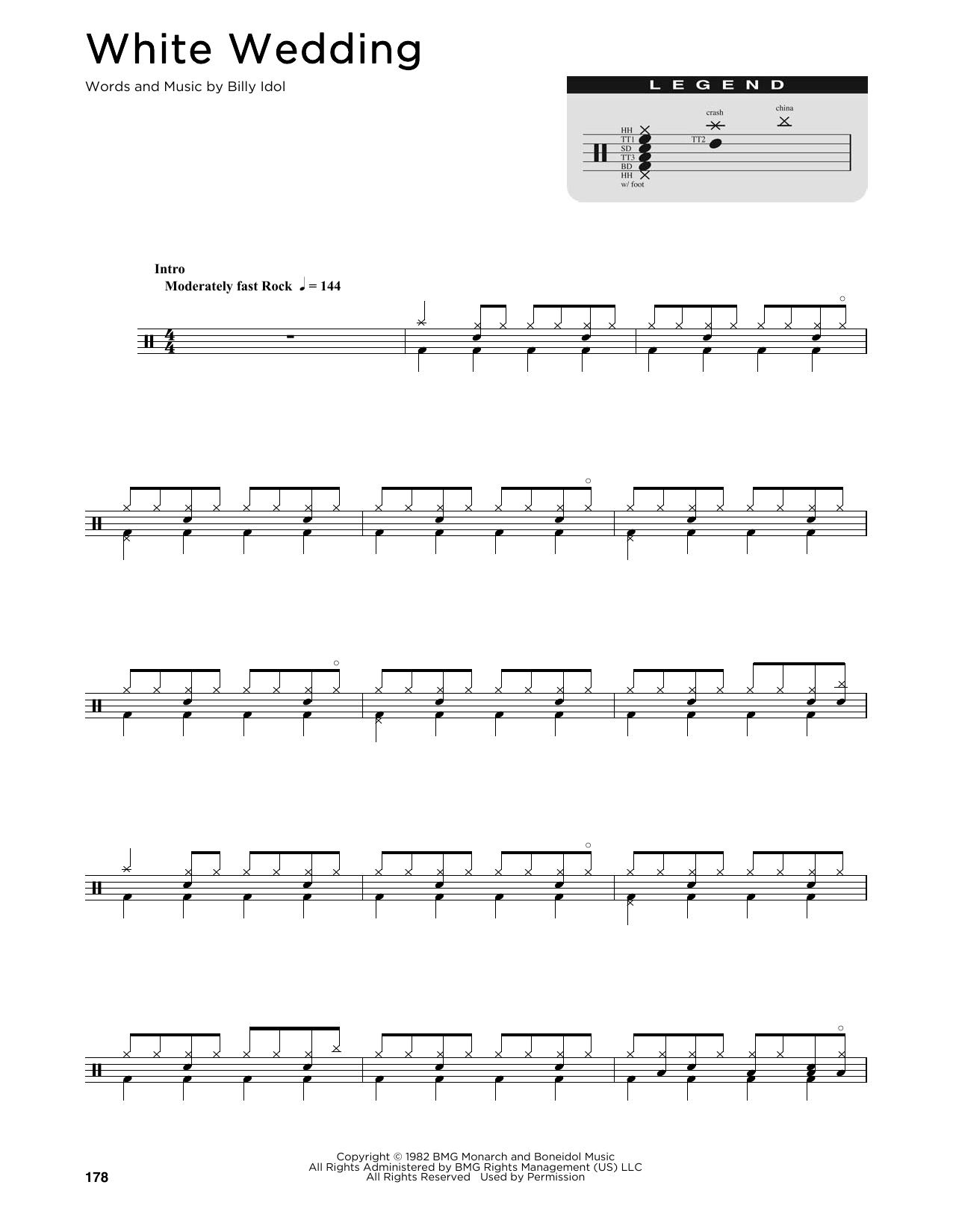 White Wedding Sheet Music Billy Idol Drums Transcription