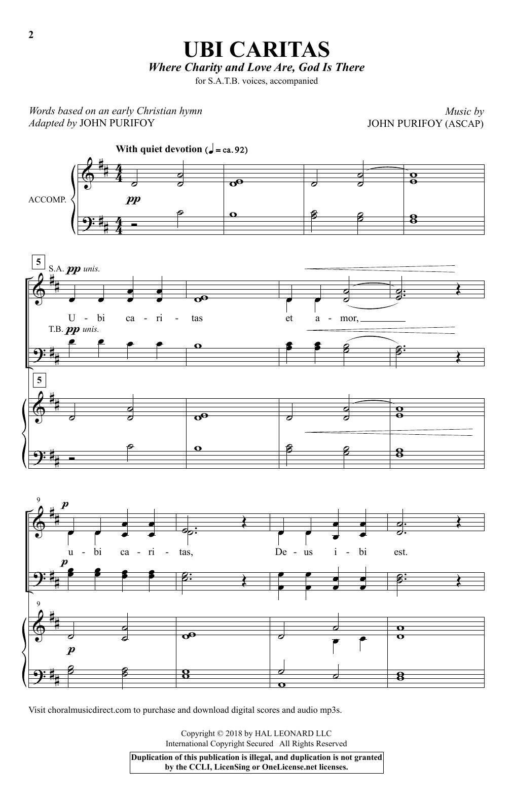 Ubi Caritas (Where Charity And Love Are, God Is There) Sheet Music