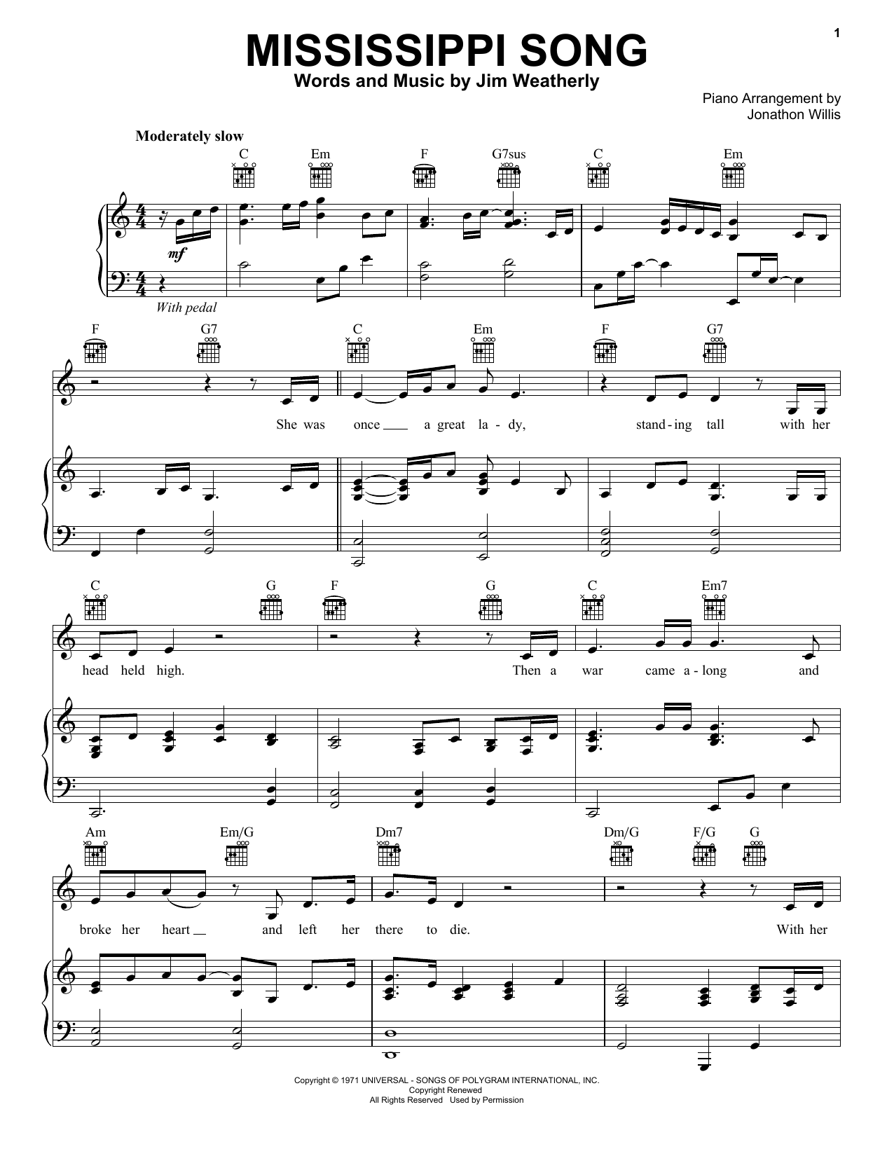 Mississippi Song (Piano, Vocal & Guitar (Right-Hand Melody))