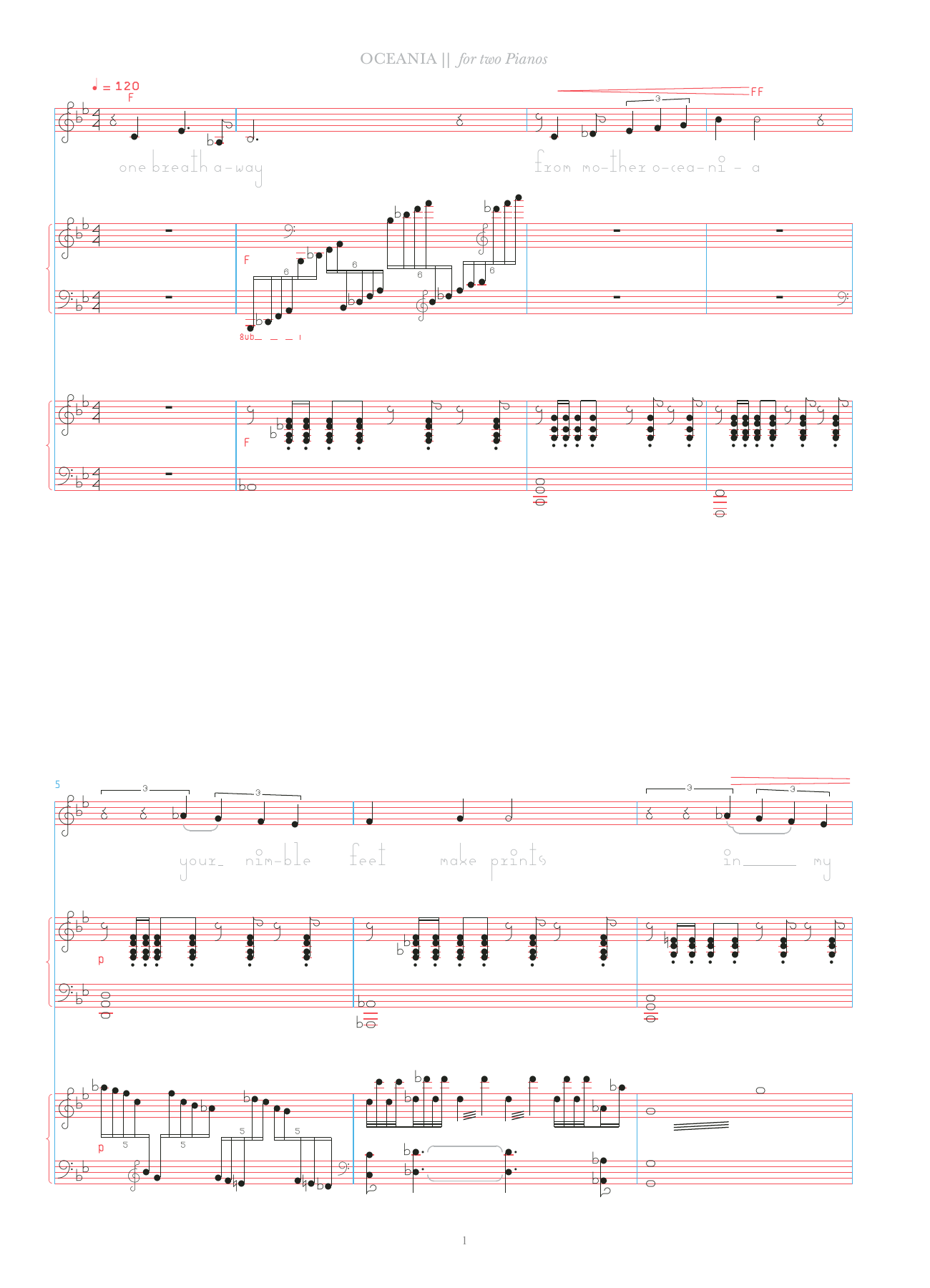 Oceania (for two pianos) Sheet Music