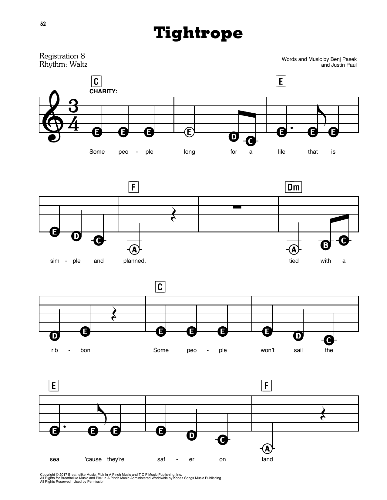 Tightrope (from The Greatest Showman) Sheet Music