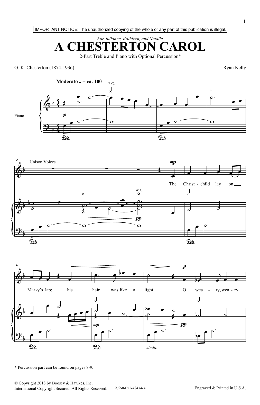 A Chesterton Carol Sheet Music