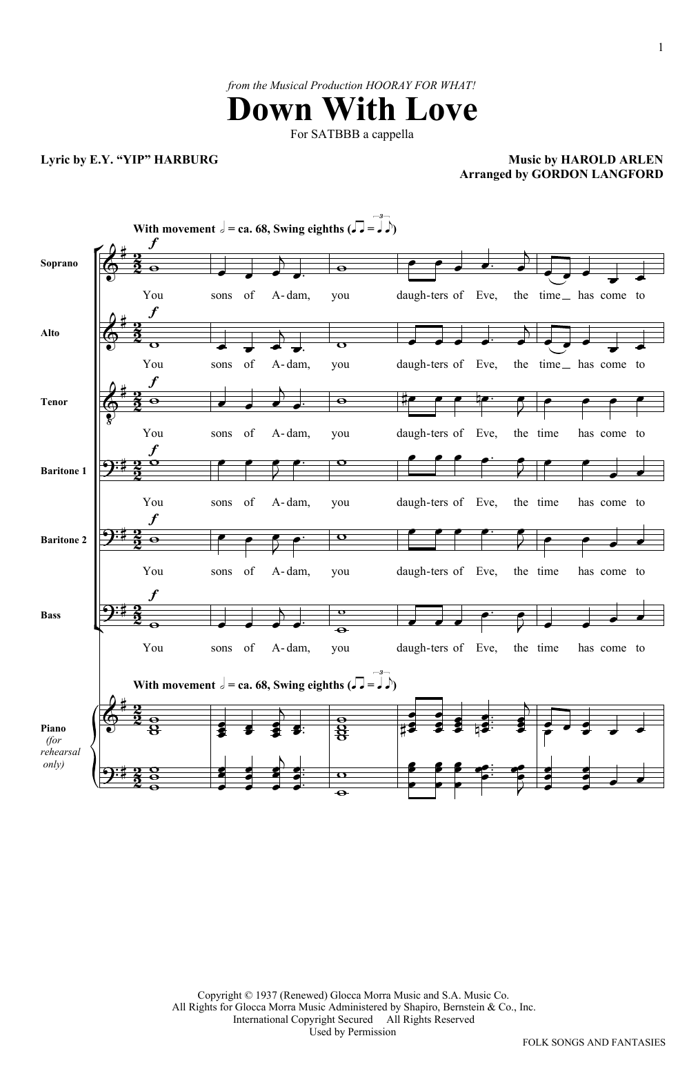 Down With Love (SATB Choir)