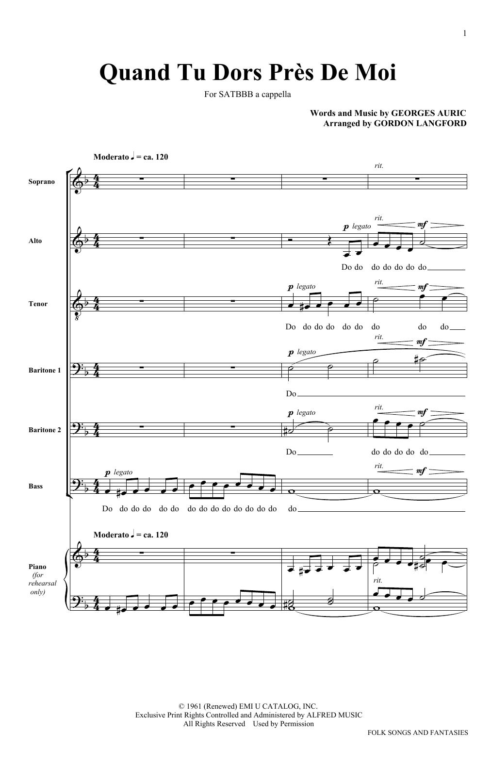 Quand Tu Dors Pres De Moi (SATB Choir)