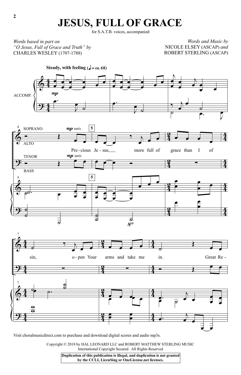 Jesus, Full Of Grace Sheet Music