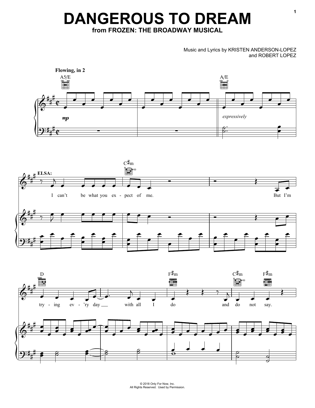 Dangerous To Dream (from Frozen: the Broadway Musical) (Piano, Vocal & Guitar (Right-Hand Melody))