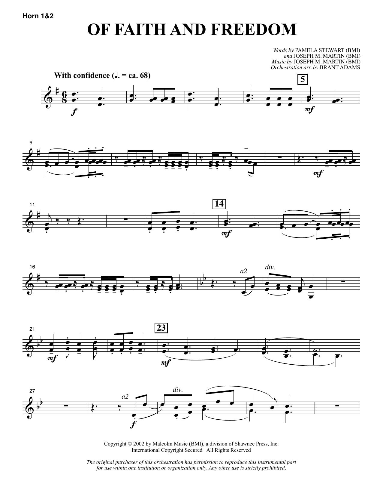 Of Faith and Freedom - F Horn 1 & 2 Sheet Music