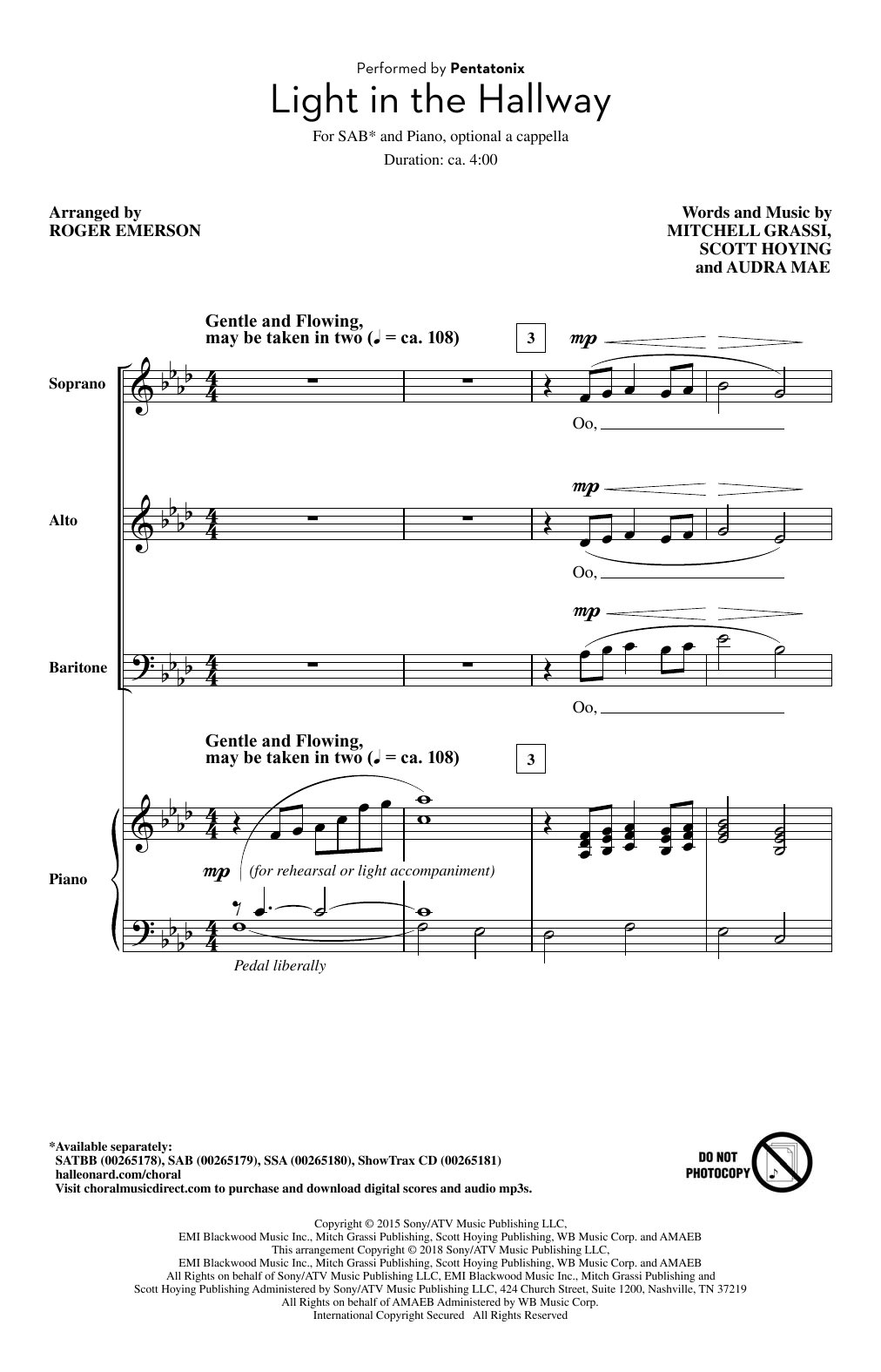 Light In The Hallway (arr. Roger Emerson) Sheet Music