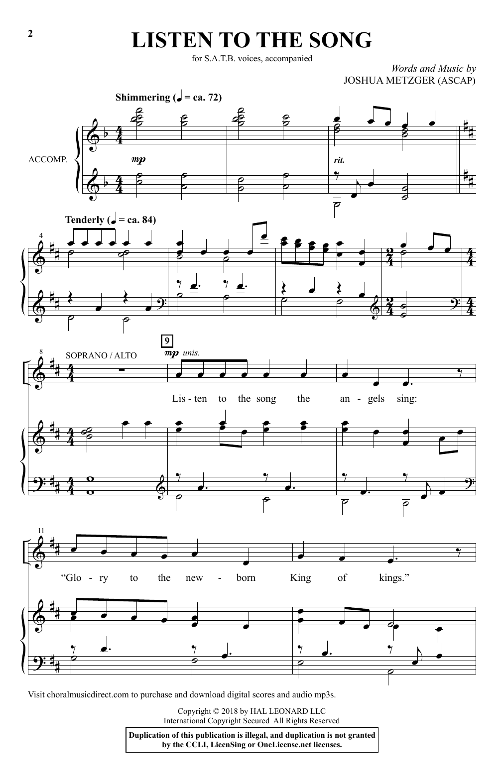 Listen To The Song Sheet Music