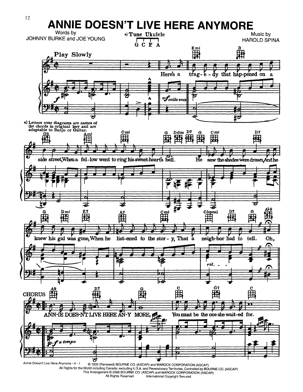 Annie Doesn't Live Here Anymore Sheet Music