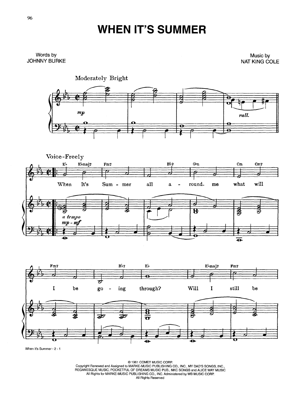 When It's Summer (Piano, Vocal & Guitar (Right-Hand Melody))