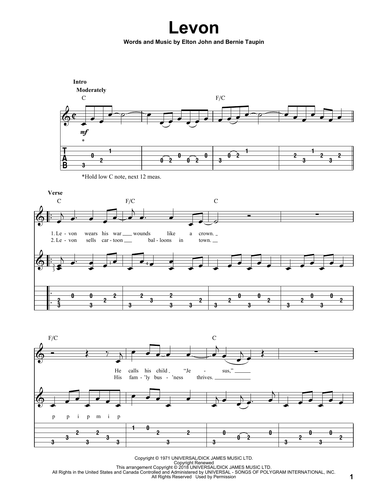 Levon (Solo Guitar Tab)