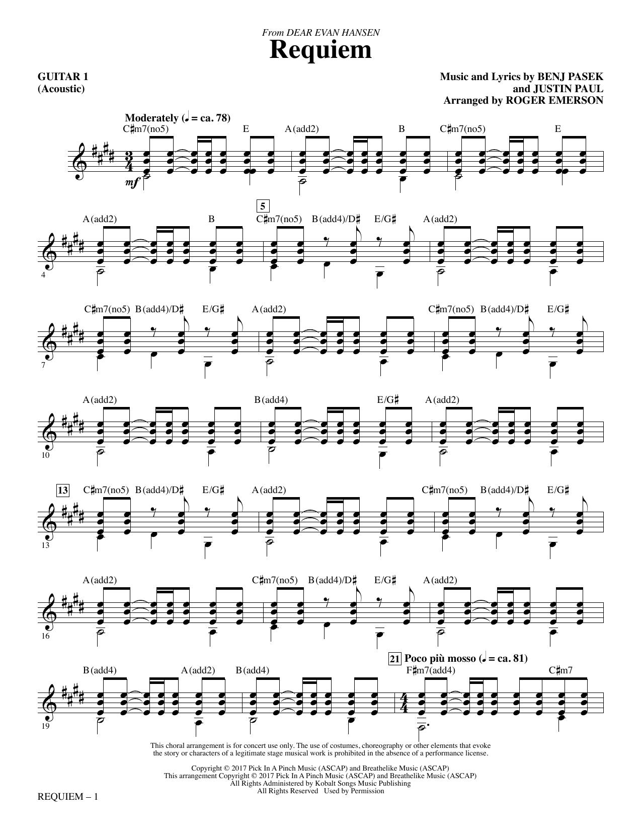 Requiem (from Dear Evan Hansen) (arr. Roger Emerson) - Guitar 1 (Choir Instrumental Pak)