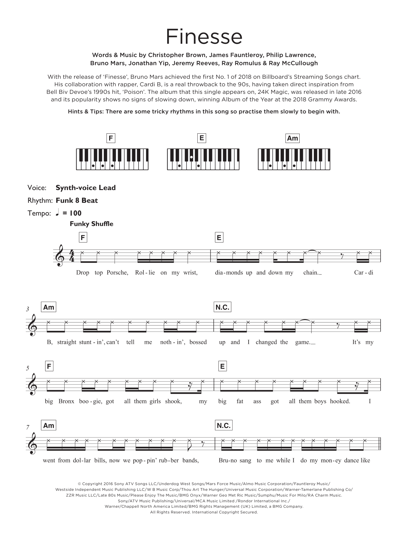 Finesse (featuring Cardi B) Sheet Music