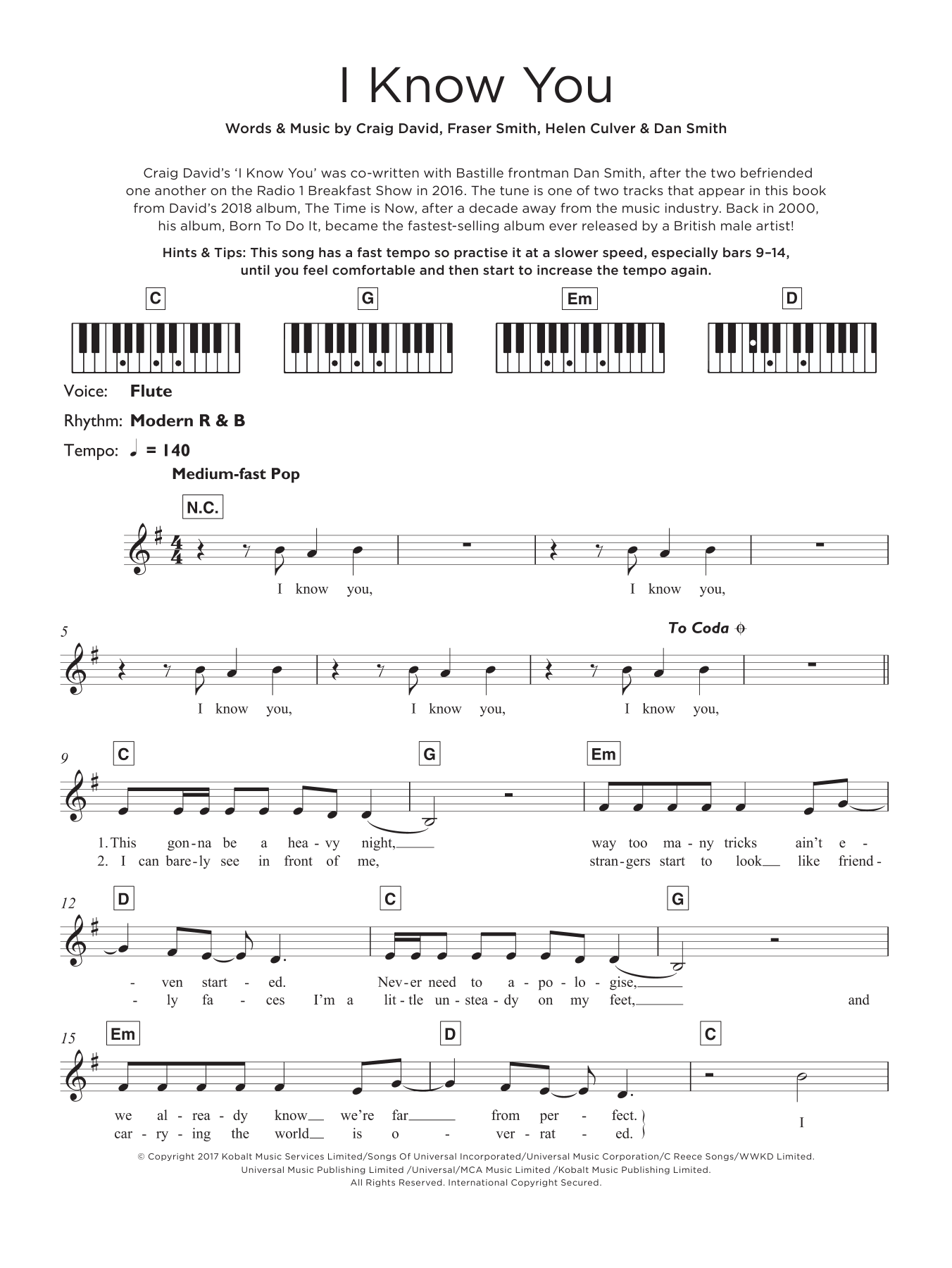 I Know You (featuring Bastille) Sheet Music