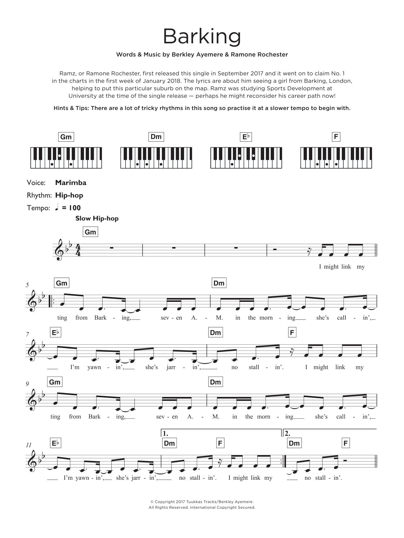 Barking Sheet Music Ramz Keyboard Abridged
