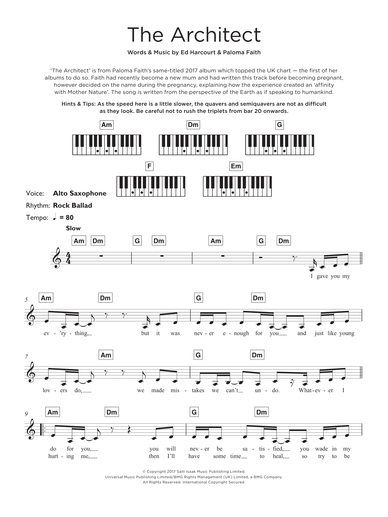 The Architect Sheet Music