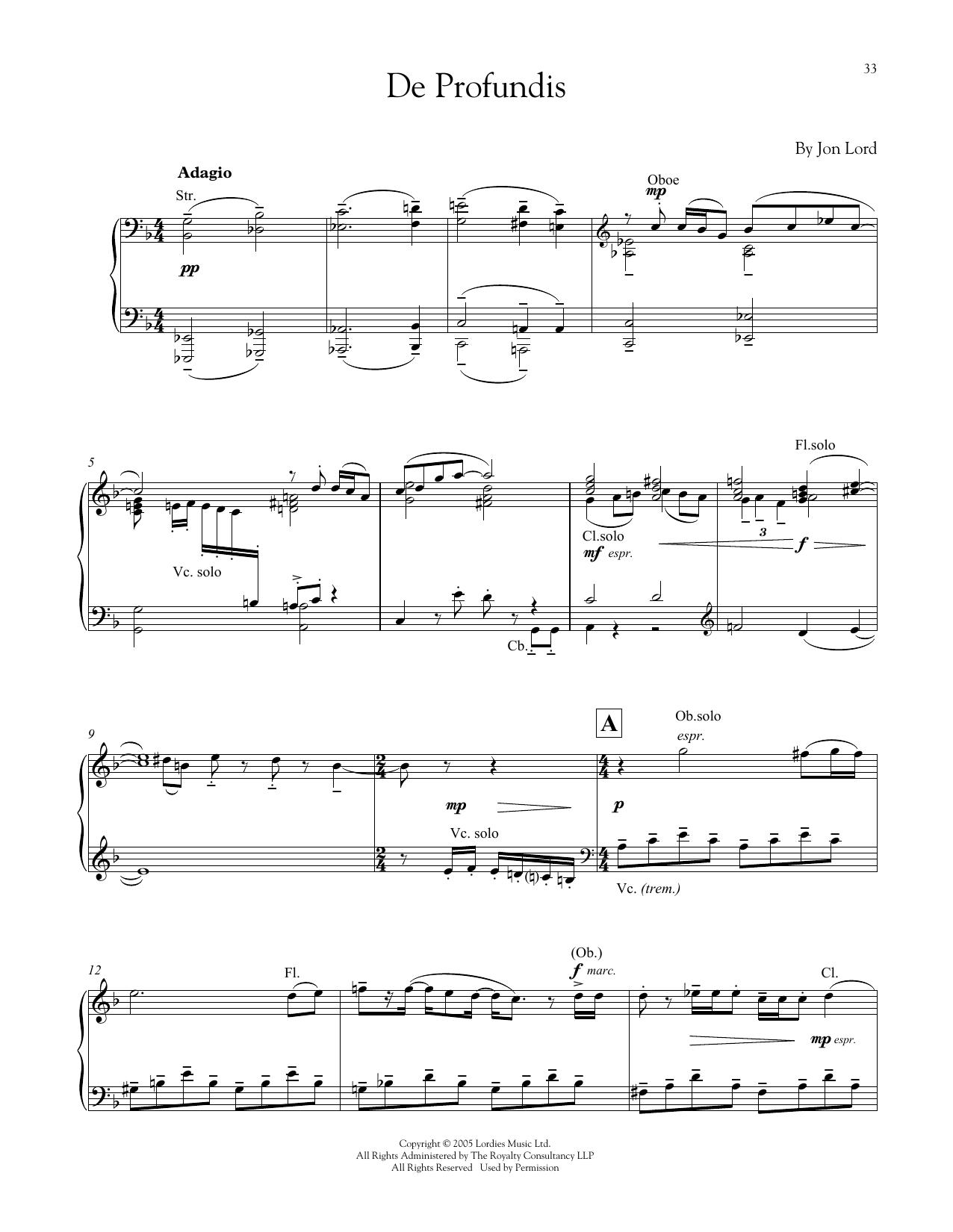 De Profundis (Piano Solo)