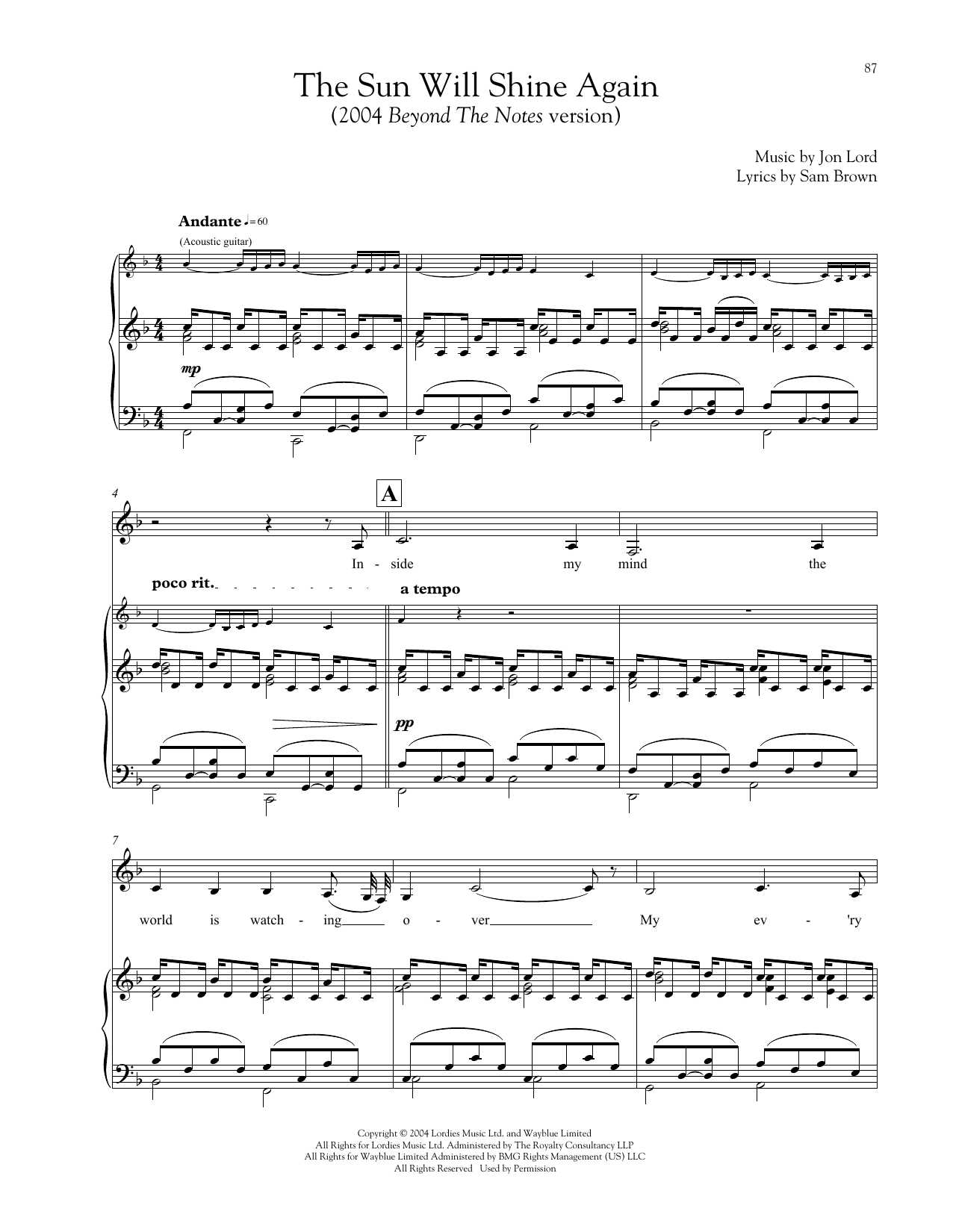 The Sun Will Shine Again Sheet Music