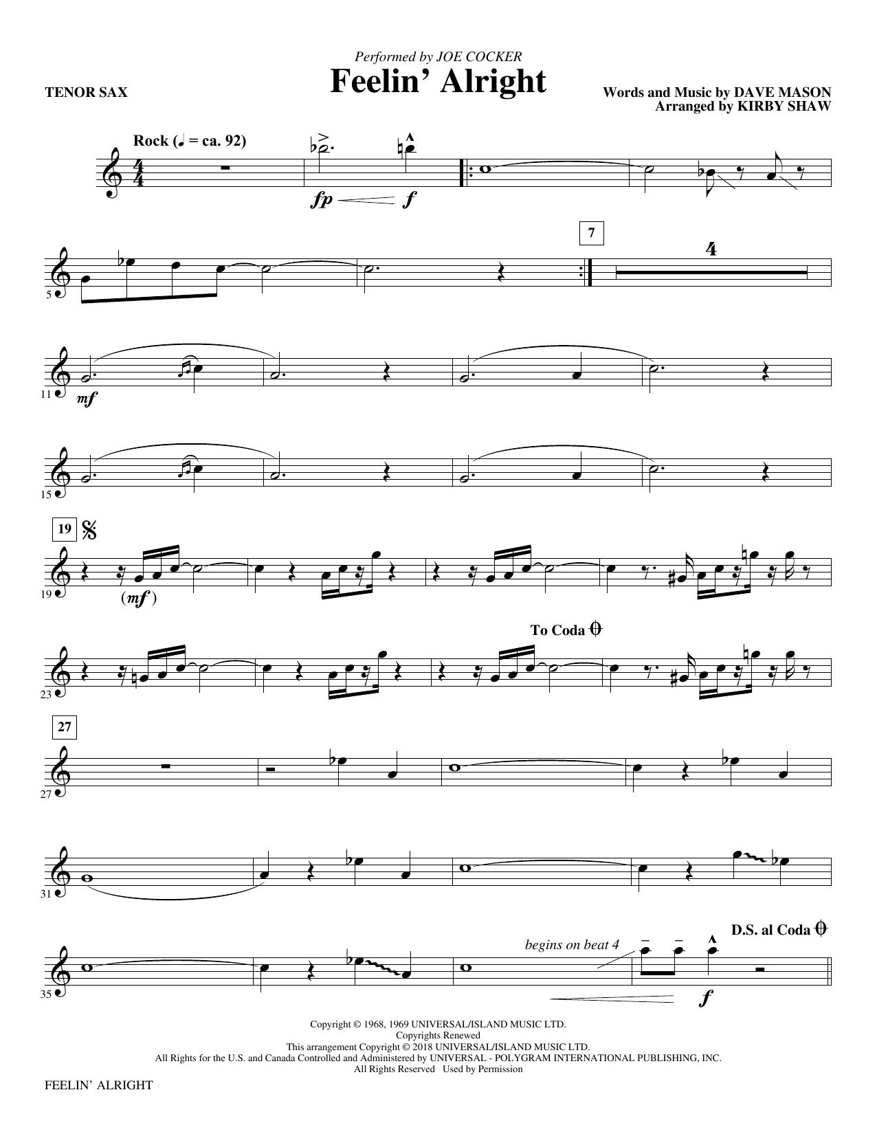 Feelin' Alright - Bb Tenor Saxophone (Choir Instrumental Pak)