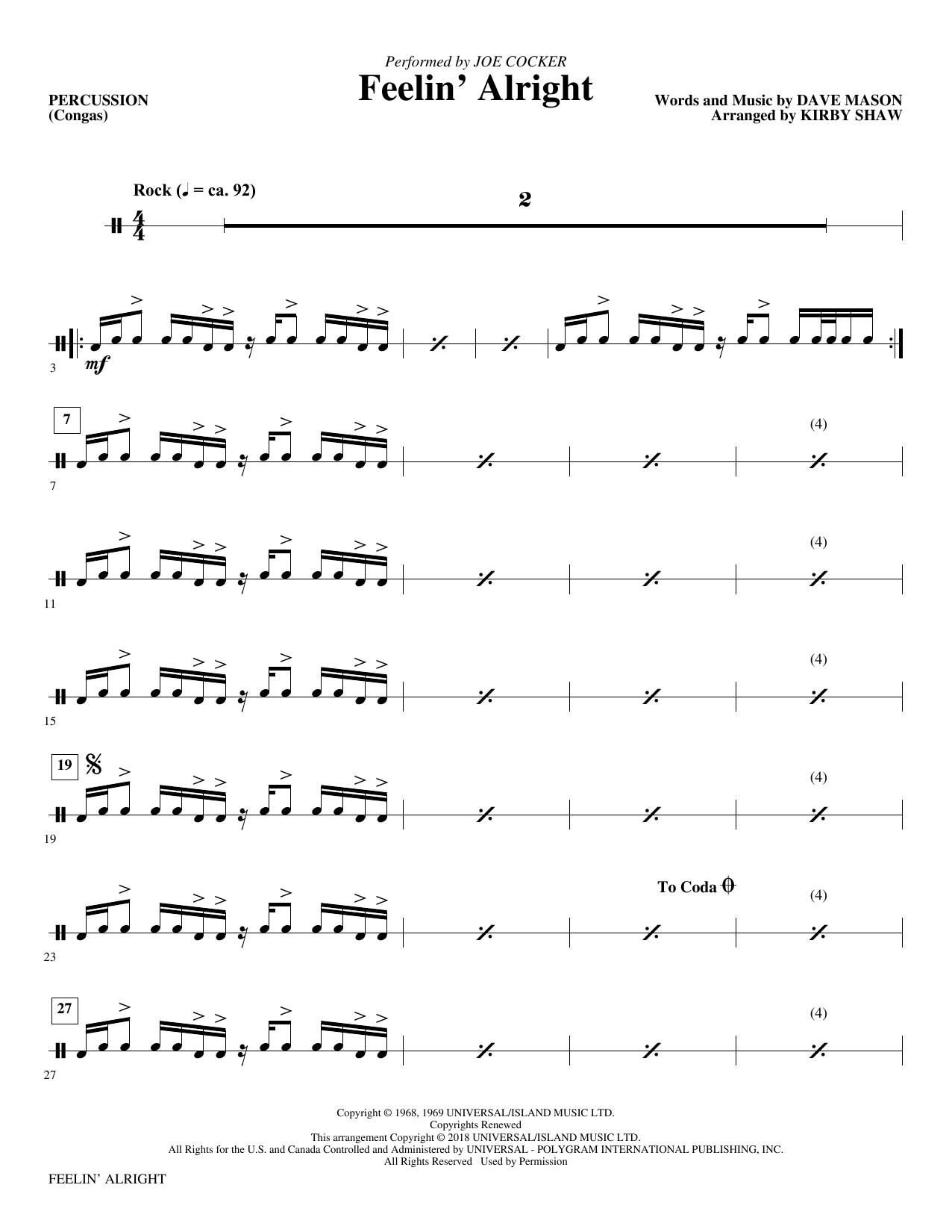 Feelin' Alright - Percussion (Choir Instrumental Pak)