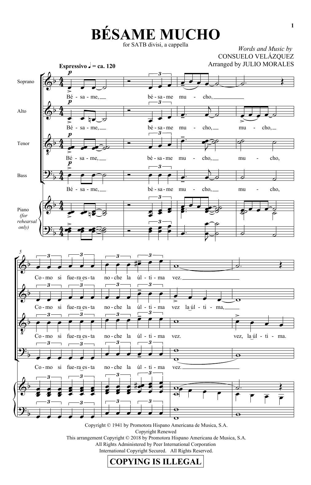 Bésame Mucho (SATB Choir)