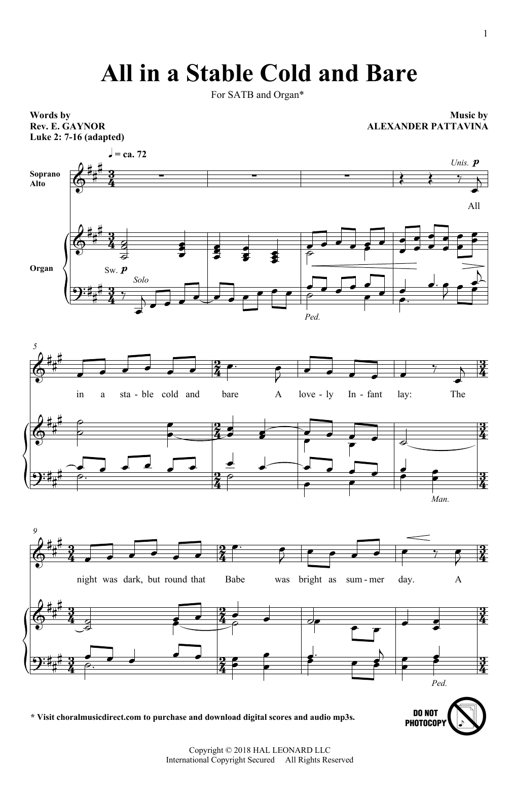 All In A Stable Cold And Bare Sheet Music