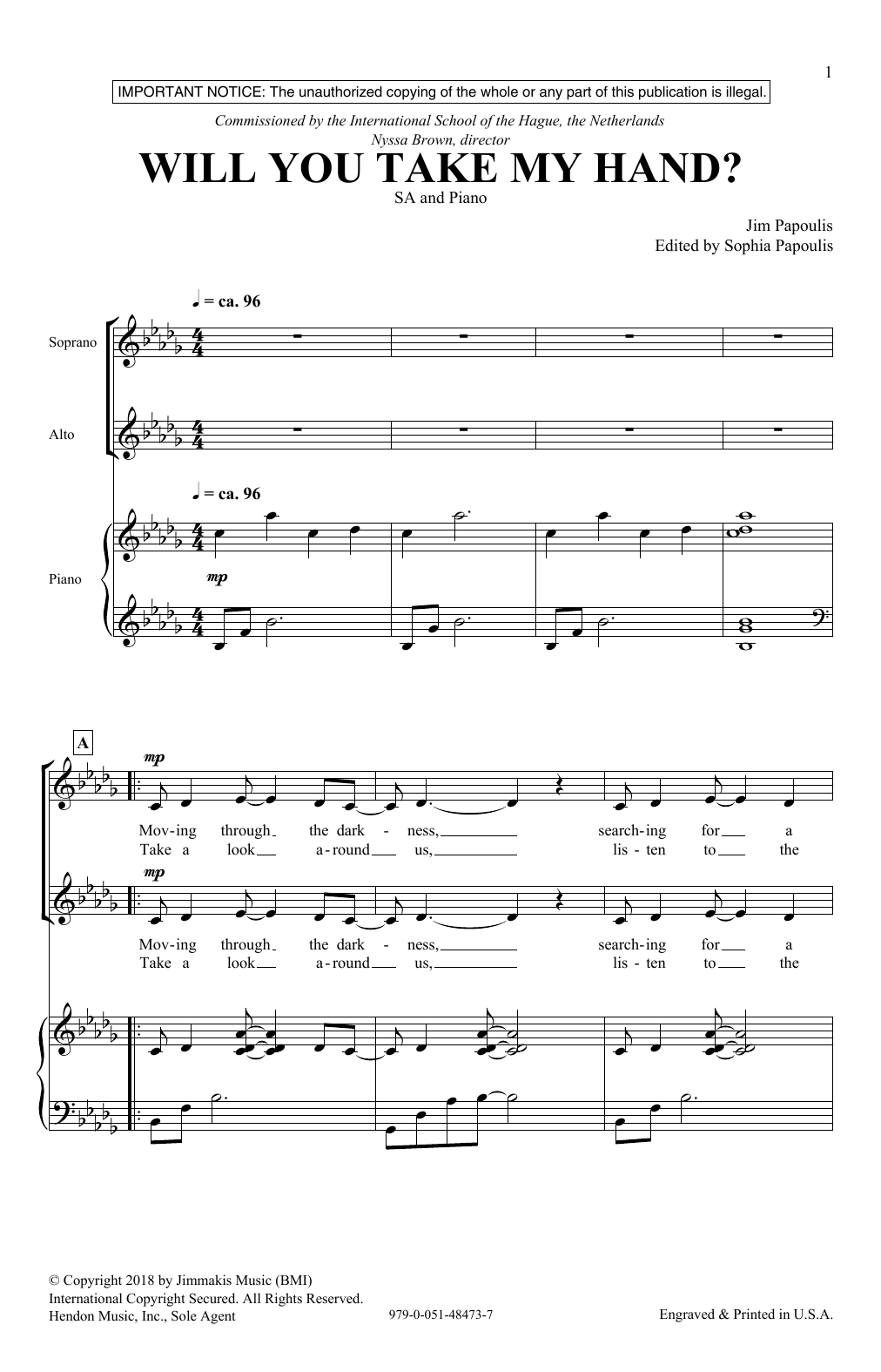 Will You Take My Hand Sheet Music