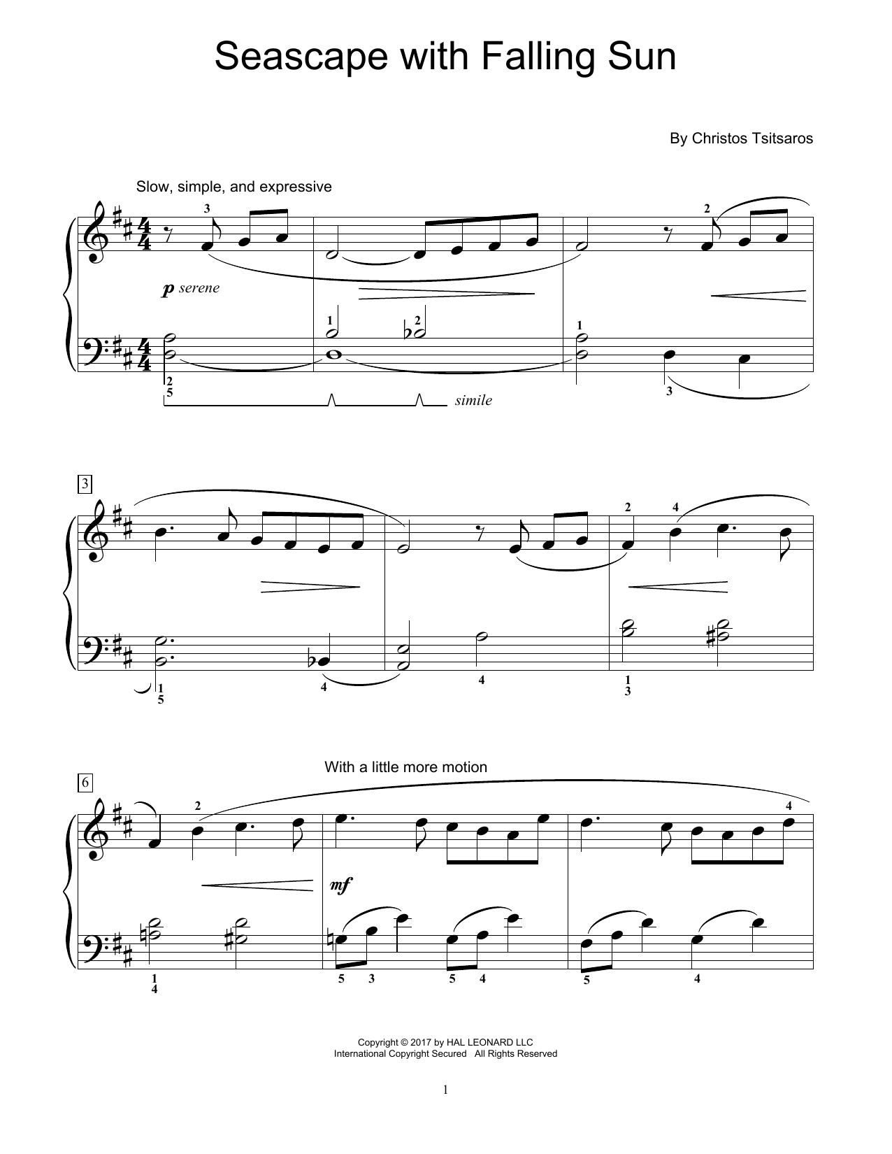 Seascape With Falling Sun (Educational Piano)