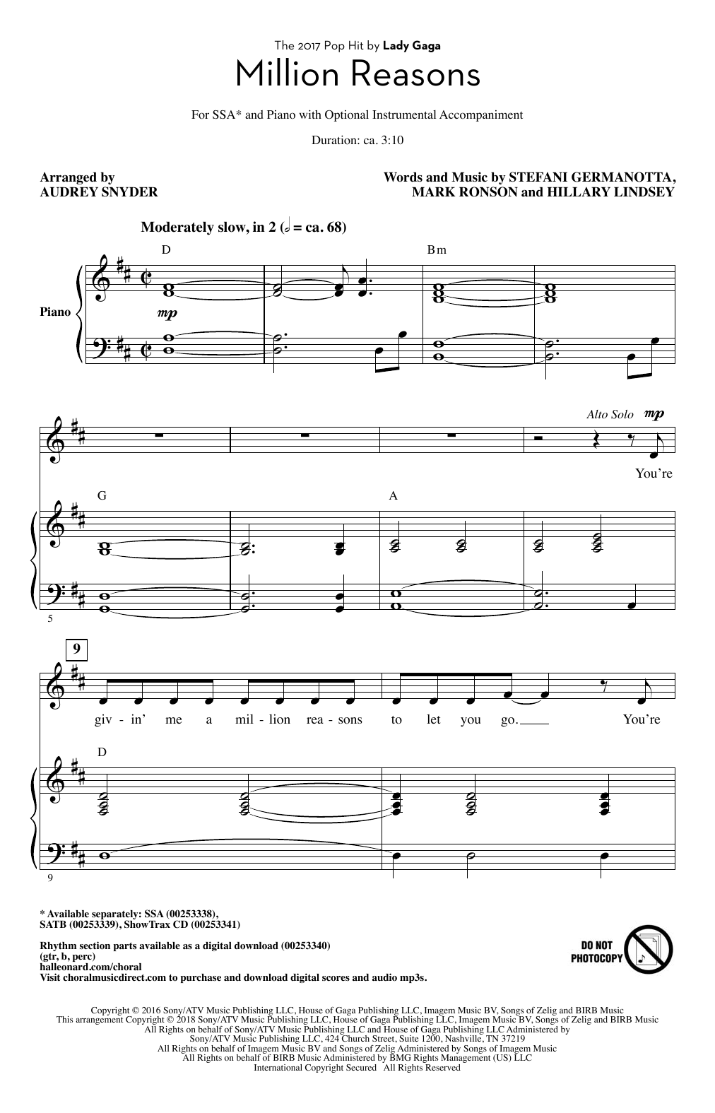 Million Reasons (arr. Audrey Snyder) Sheet Music