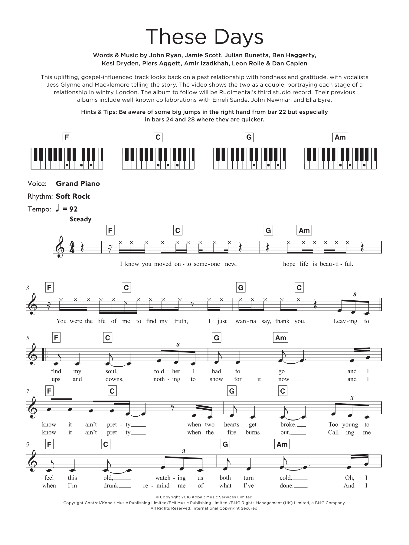 These Days (featuring Jess Glynne, Macklemore and Dan Caplen) Sheet Music