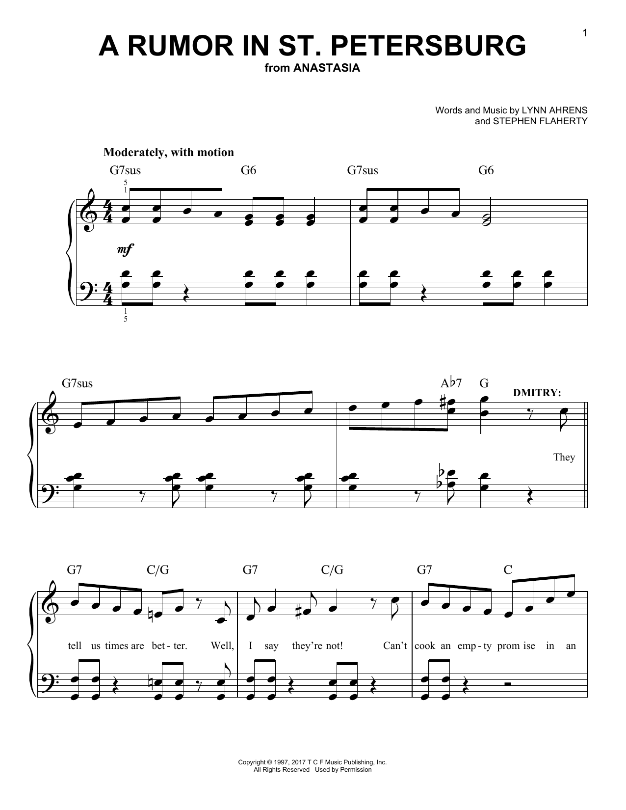A Rumor In St. Petersburg (from Anastasia) (Easy Piano)