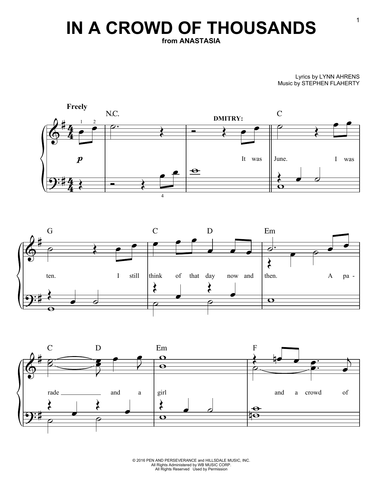 In A Crowd Of Thousands (from Anastasia) (Easy Piano)