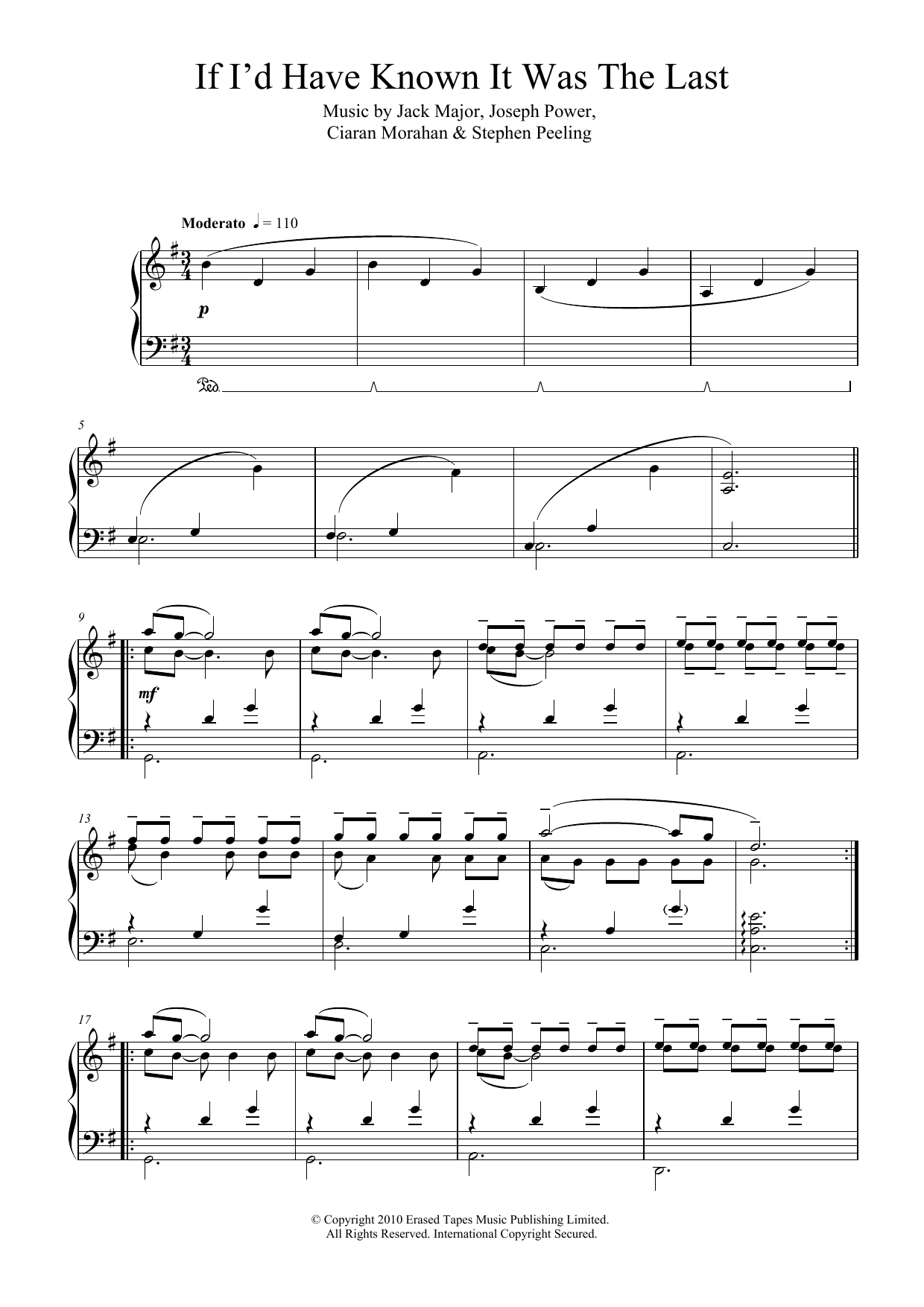 If I'd Have Known It Was The Last (Second Position) Sheet Music