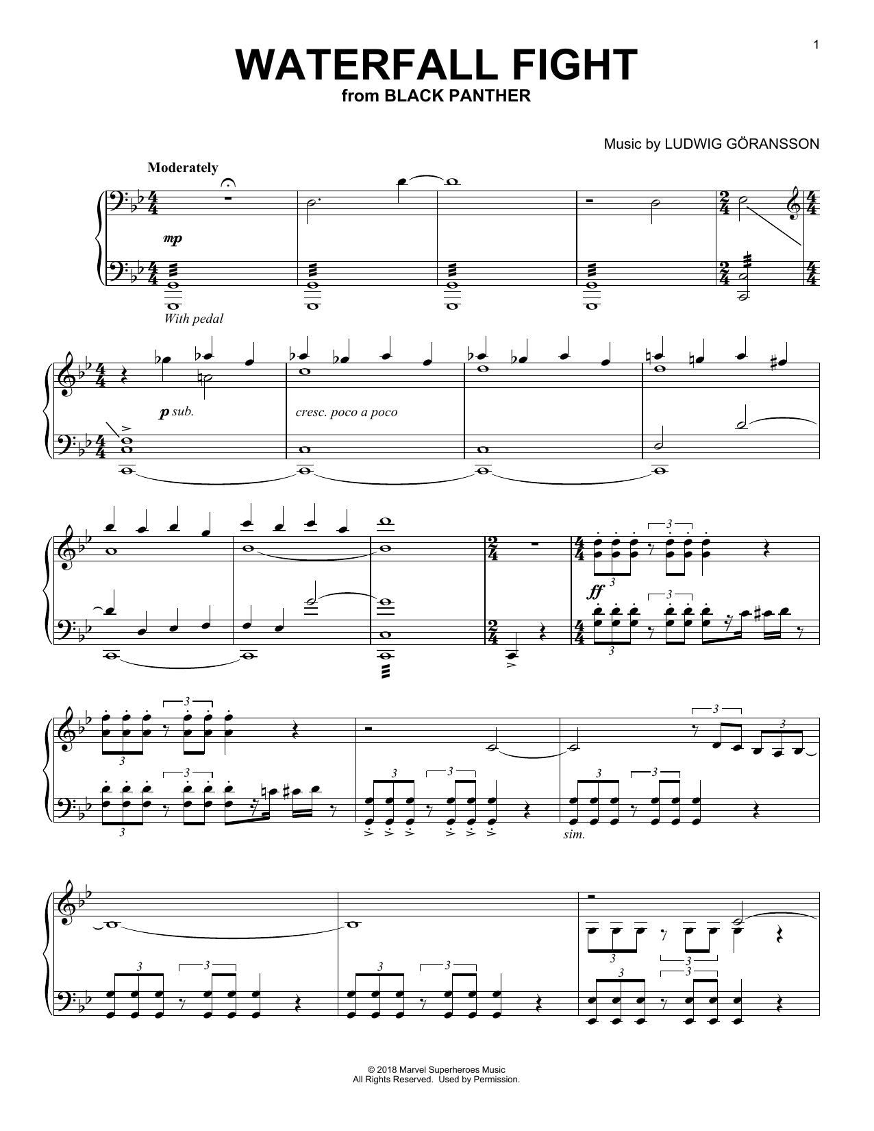 Waterfall Fight (from Black Panther) (Piano Solo)