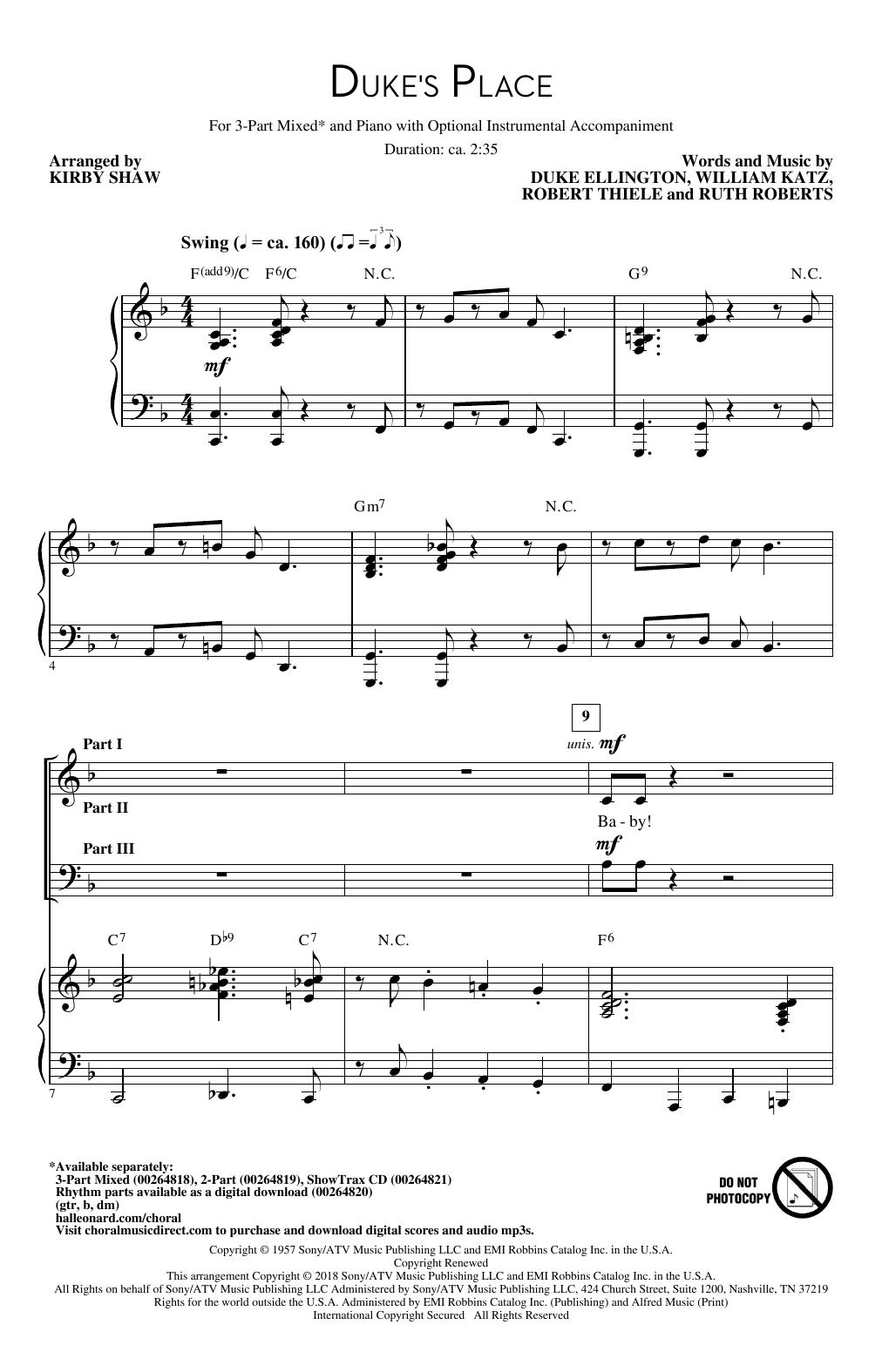 Duke's Place Sheet Music